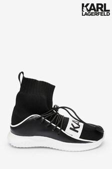 Karl Lagerfeld Black Logo Sock Trainers