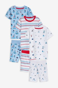 3 Pack Sailboat Print Shorts Pyjamas (9mths-8yrs)