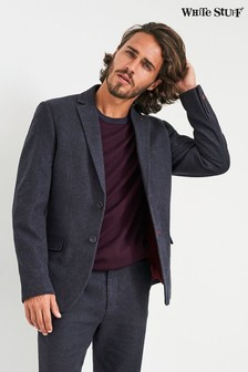 White Stuff Navy Chukar Herringbone Slim Blazer