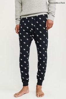 Pantaloni de pijama Abercrombie & Fitch Moose bleumarin