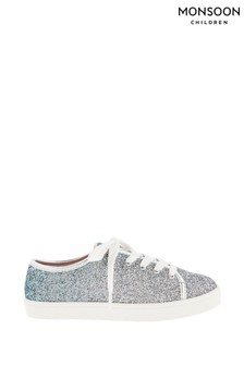 Monsoon Frosted Blue Ombre Glitter Trainers