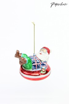 Paperchase Glass Snow Tube Santa Bauble