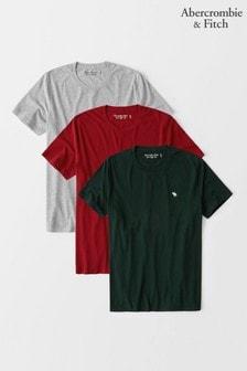 Abercrombie & Fitch T-Shirts im 3er-Pack, Rot, Grau & Marine