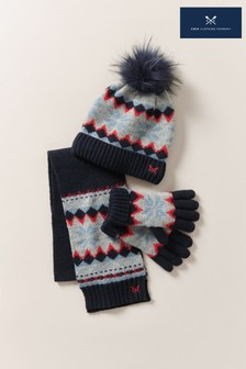 Crew Clothing Company ブルー フェアアイル柄帽子、手袋 & スカーフセット