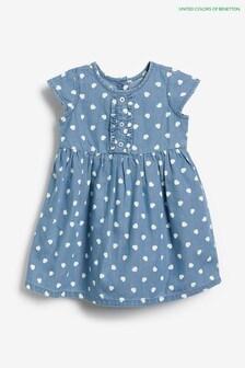 Benetton Kleid mit Herzdesign, Marineblau