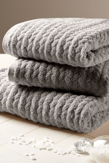 Charcoal Grey Cosy Cable Knit Effect Towel