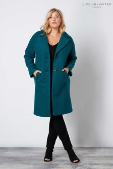 Live Unlimited Aqua Plain Wool Teal Coat