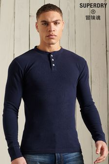 Superdry Organic Cotton Long Sleeve Waffle Henley Top