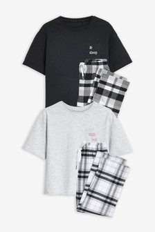 2 Pack Check Bottom Pyjamas (3-16yrs)