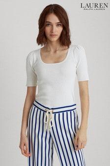 סוודר עם שרוולקצר שלLauren Ralph Lauren® דגםNadaliaבלבן