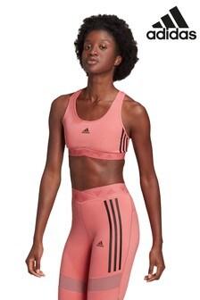 Спортивный бюстгальтер низкой степени поддержки с 3 полосками и сеткой adidas