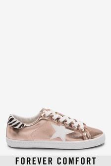 Sneakers met vetersluiting en sterrenprint