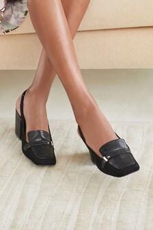 Hardware Slingback Loafers