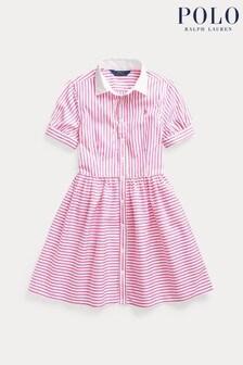 Ralph Lauren Hemdkleid mit Streifen und Logo, Rosa/Weiß
