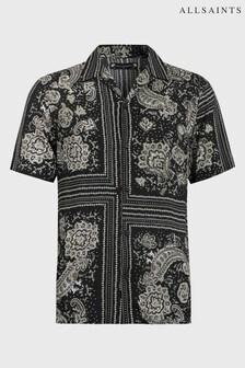 AllSaints Black Scarf Print Ventura Shirt