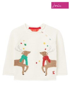 Joules White Winnie Artwork Knitted Jumper