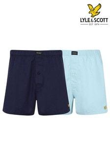 Lyle & Scott Blue Mix Woven Boxer Shorts Two Pack