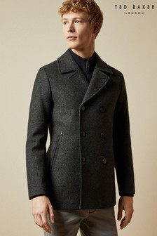 Ted Baker Grey Westun Double Breasted Wool Peacoat