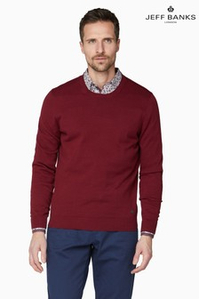 Jeff Banks Red Men's Knitted Crew Neck Sweater