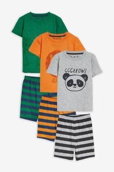 3 Pack Animal Stripe Short Pyjamas (9mths-8yrs)