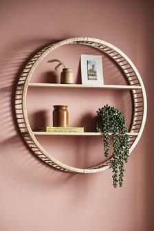 Mensola in legno e rattan