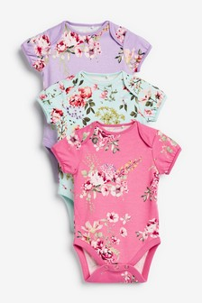 3 Pack Floral Short Sleeve Bodysuits (0mths-3yrs)