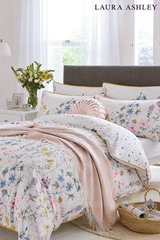 Laura Ashley White Wild Meadow Duvet Cover And Pillowcase Set