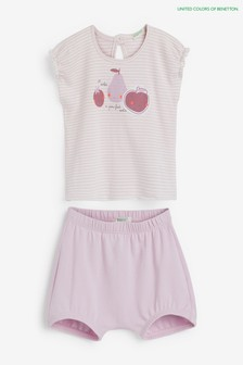 Benetton White Fruit Top And Shorts Set