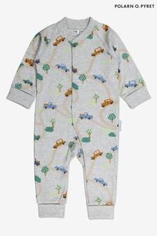 ثوب أطفال رمادي طباعة سيارةقطن عضوي حاصل على اعتماد معيار النسيج العضوي العالمي (GOTS) منPolarn O. Pyret