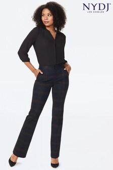 NYDJ Broad Check Ponte Knit Jersey Straight Leg Trousers