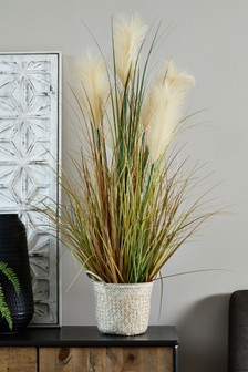 Artificial Pampas Grass in Basket