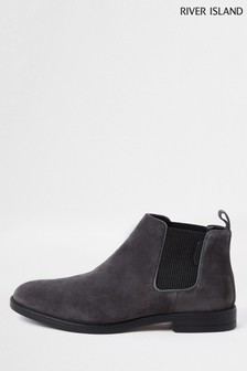 River Island Grey Suede Gusset Chelsea Boots