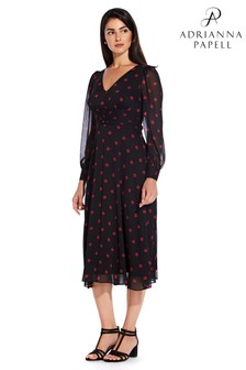 Adrianna Papell Red Daisy Dot Fit And Flare Dress