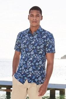 Botanical Print Short Sleeve Shirt