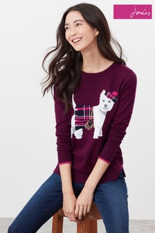 Joules Purple Miranda Knitted Intarsia Crew Neck Jumper
