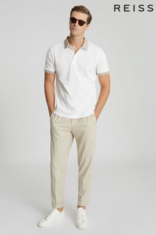 Reiss Cream Filipo Contrast Collar Polo Shirt