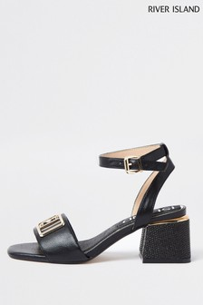 River Island Black Branded Two Part Sandals