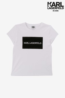 Karl Lagerfeld Kids White Text T-Shirt