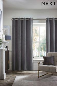 Charcoal Matte Velvet Eyelet Lined Curtains