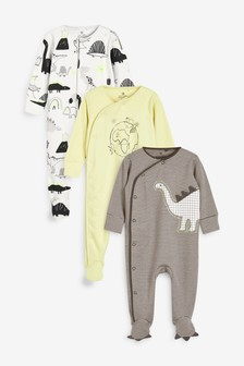 3 Pack Neon Dino Sleepsuits (0mths-2yrs)