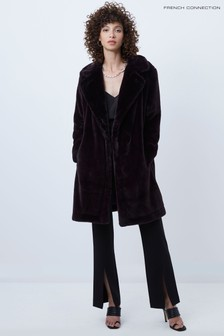 French Connection Purple Banna Faux Fur Long Coat