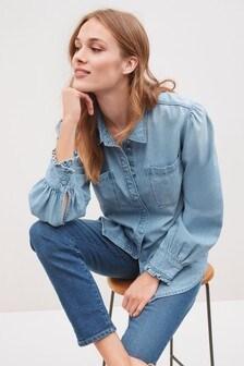 Джинсовая рубашка с пышными рукавами