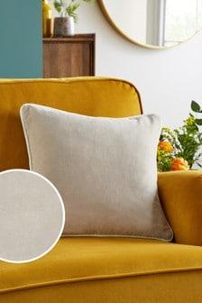 Grey Cotton Velvet Small Square Cushion