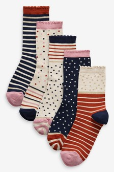 Stripe And Spot Socks Five Pack