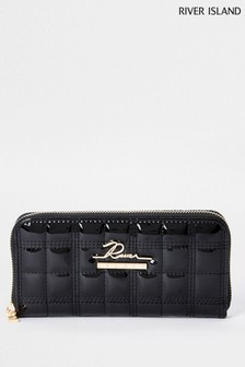 River Island Black Large Quilted Zip Around Bag