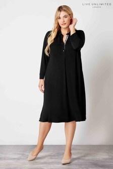 Live Unlimited Black French Crepe Patch Pocket Dress