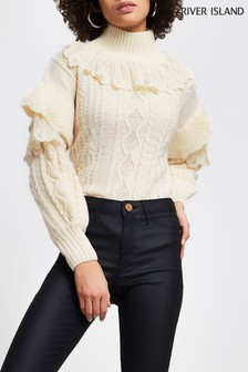 River Island Cream Lace Frill High Neck T-Shirt