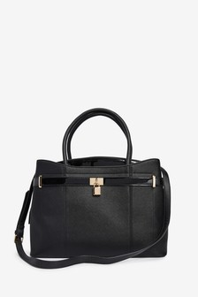 Lock Detail Tote Bag With Compartment For Laptop