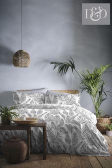 D&D Grey Tahiti Duvet Cover And Pillowcase Set
