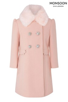 Monsoon Pink Scallop Coat